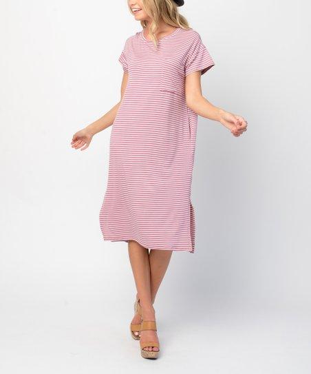 6438cb7e love this product Mauve Stripe Pocket Midi T-Shirt Dress - Women