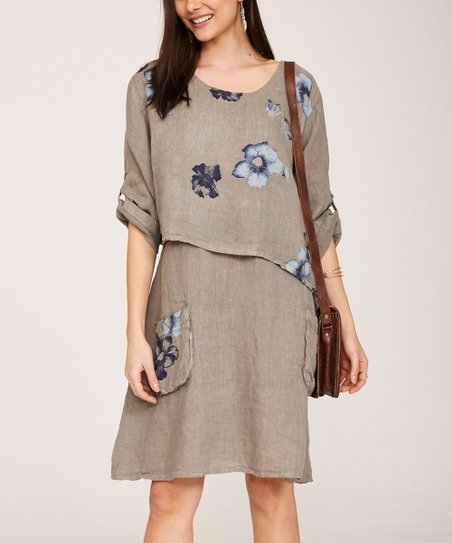 bef58f01a90 love this product Taupe Floral Layered Linen Shift Dress - Women