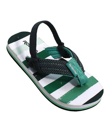 9fbce5b37 Rockin Footwear Green   White Stripe Back-Strap Flip-Flop - Boys ...