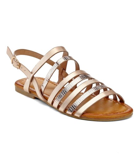 bf1e869e07c Eddie Marc Kids Rose Gold Snake-Embossed Cage-Strap Sandal - Girls ...