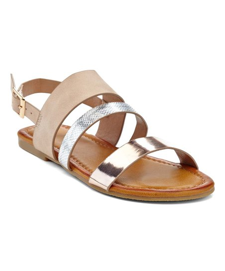 f5955bf75b7 Eddie Marc Kids Nude   Silver Snake-Embossed Metallic Sandal - Girls ...