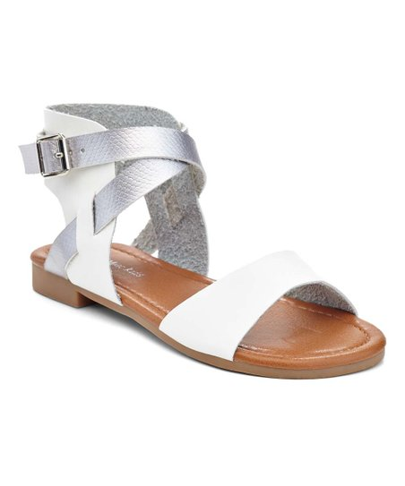 b3bbb3eafe2 love this product White   Silver Snake-Embossed Gladiator Sandal - Girls