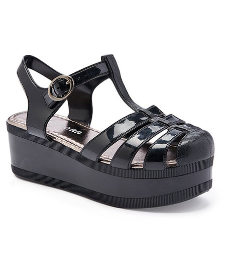 f4076090cb56 Baby Boss Black Platform Jelly Sandal - Girls
