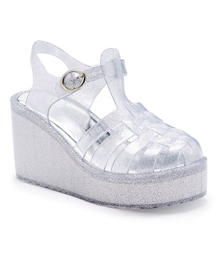 9517b8a66228 Baby Boss Clear   Silver Glitter Platform Wedge Jelly Sandal - Girls ...