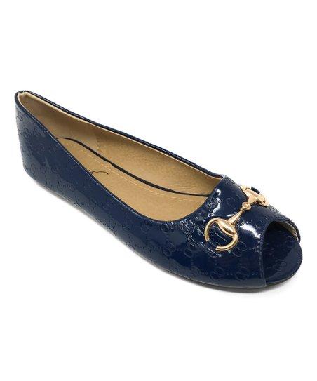 Daily Sports Navy Peep Toe Flat - Women