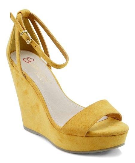 33be46a0ddb DBDK Fashion Mustard Ankle-Strap Ode Platform Wedge - Women | Zulily
