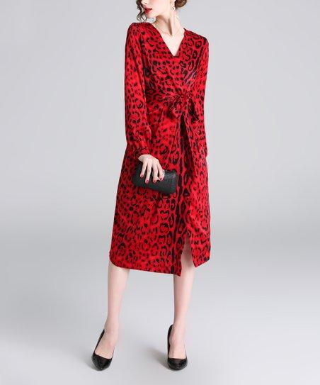 0a616cfdb632 love this product Red Leopard Print Tie-Waist Surplice Dress - Women
