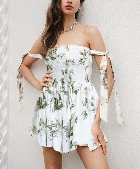 Green Floral Dress With White Ribbon Dresses
