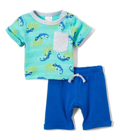 386c94366a58 love this product Teal & Royal Blue Lizard Pocket Tee & Shorts
