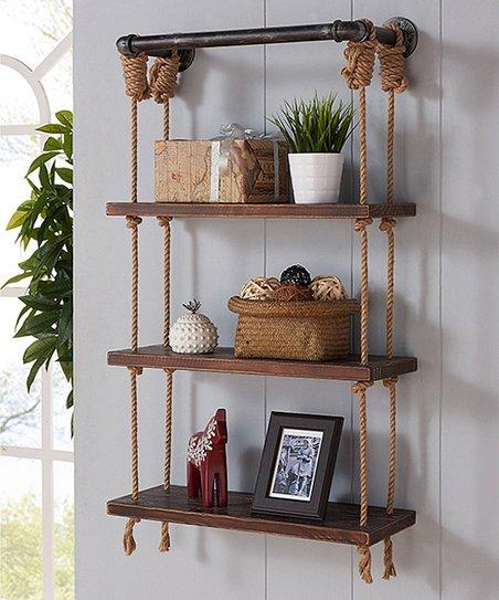 Hanging Shelf Votive Candleholder with  Rope Walnut