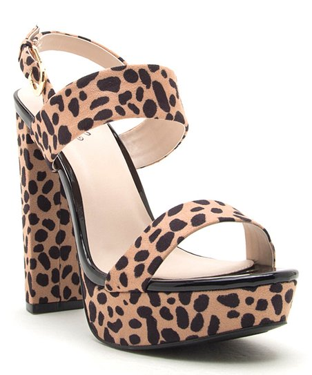 28d83f70335c love this product Tan Cheetah Dearly Platform Sandal - Women