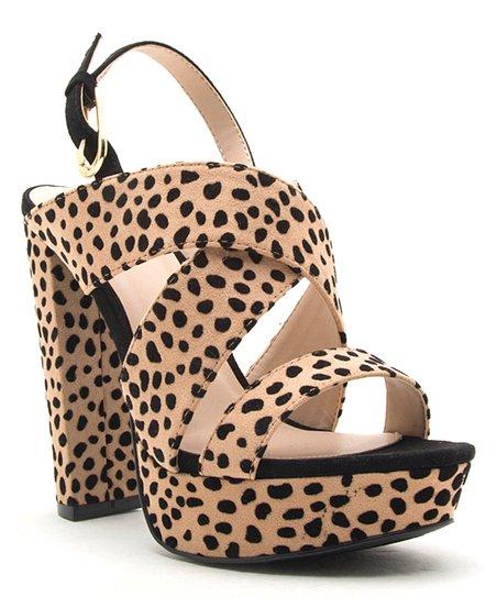 b328e8a8837d love this product Tan & Black Cheetah Strappy Dearly Platform Sandal - Women