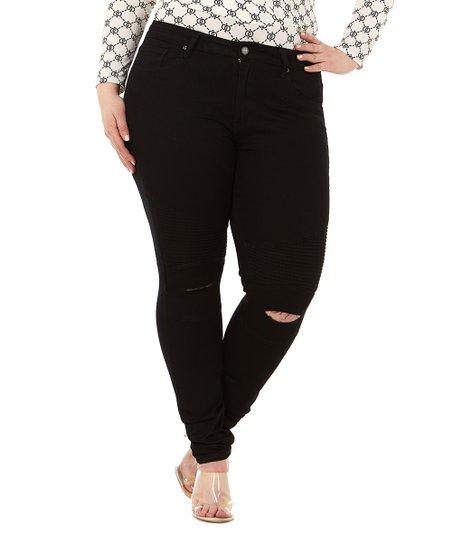 ee5c01209b9e82 Cover Girl Jeans Black Knee-Slit Moto Skinny Jeans - Juniors & Plus ...