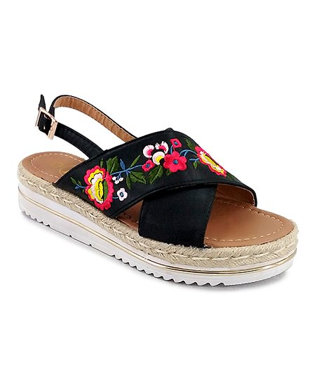 7615b939db love this product Black Floral Embroidered Crisscross Espadrille Sandal -  Women