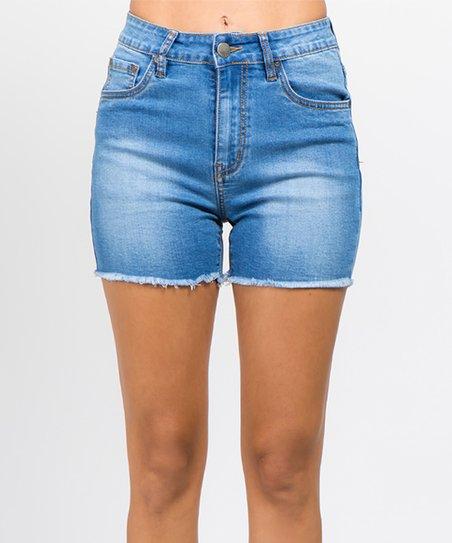 314804b8ad85 American Bazi Blue Super Stretch Denim Shorts - Women & Plus   Zulily