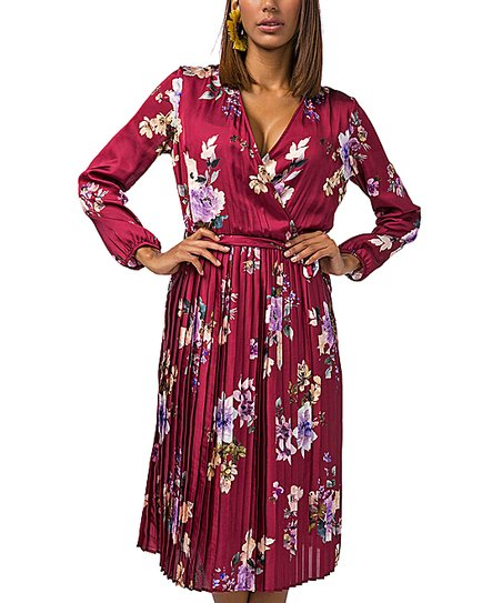 523437e1e7ca Zibi London Red Floral Pleated Long-Sleeve Wrap Dress - Women | Zulily