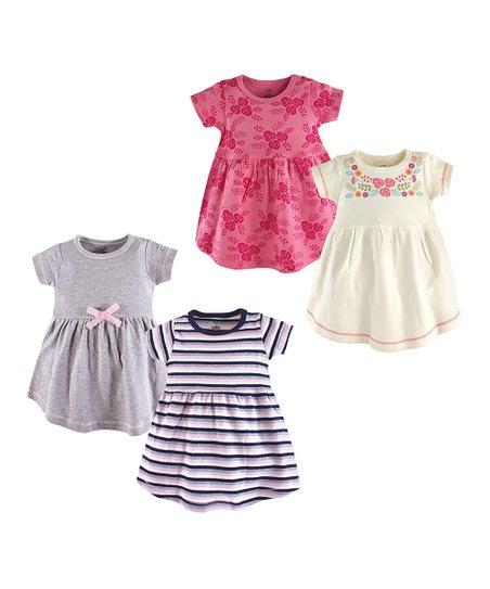 988b9f696135 love this product White Floral   Navy Stripe A-Line Dress Set - Newborn