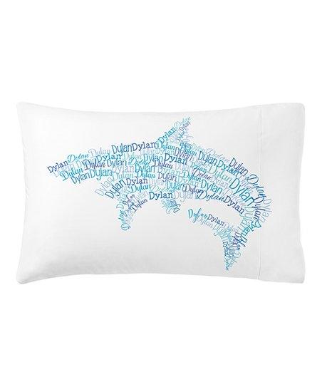 bc235821087 Personal Creations Blue Shark Name Art Plush Personalized Pillowcase