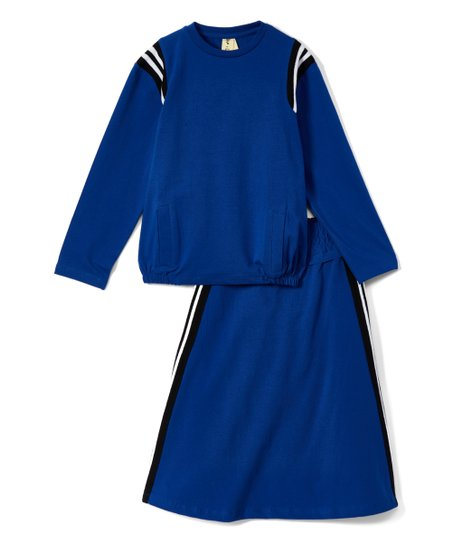 3a7a1b365c love this product Royal Blue Stripe-Contrast Long-Sleeve Top & A-Line Skirt  - Girls