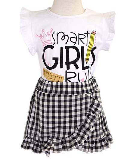 86780df2a love this product White 'Smart Girls Rule' Angel-Sleeve & Black Plaid  Ruffle Skirt - Toddler & Girls