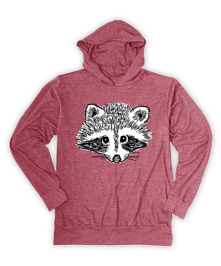 Heather Red Raccoon Face Lightweight Hoodie - Toddler & Boys