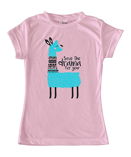 a1666644 love this product Light Pink 'Save the Drama for Your' Llama Fitted Tee -  Toddler & Girls