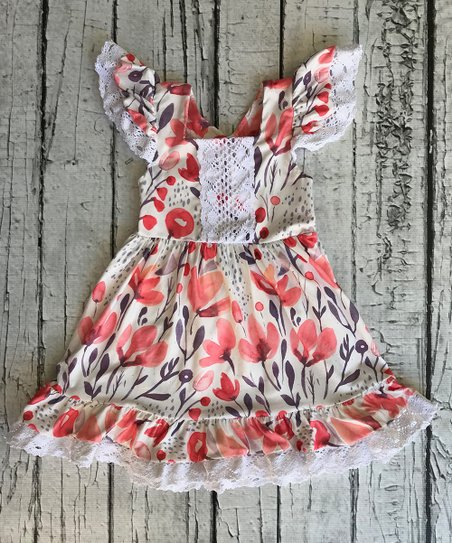 Chicaboo Coral White Floral Crochet Accent Flutter Sleeve Dresses