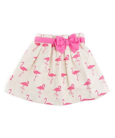 8a4ab9d17bc5b6 love this product Cream & Pink Flamingo Bow Dress Skirt - Infant & Toddler