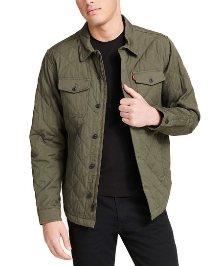Levis Army Green Quilted Shirt Jacket Men