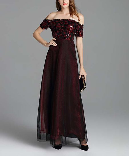 3519b00cd8234 Vicky and Lucas Red Wine & Black Sequin Off-Shoulder Gown - Women ...