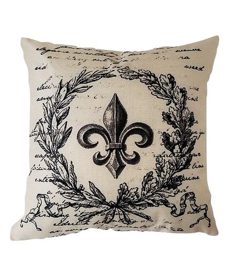 Pillow Space Beige Fleur De Lis Wreath Pillow Cover Zulily