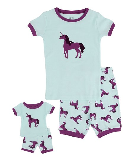 b9368124d love this product Aqua & Purple Unicorn Pajama Set & Doll Outfit - Toddler  & Girls