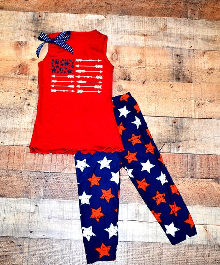 89c06b311 love this product Red Patriotic Bow Tank & Star Leggings Set - Toddler &  Girls