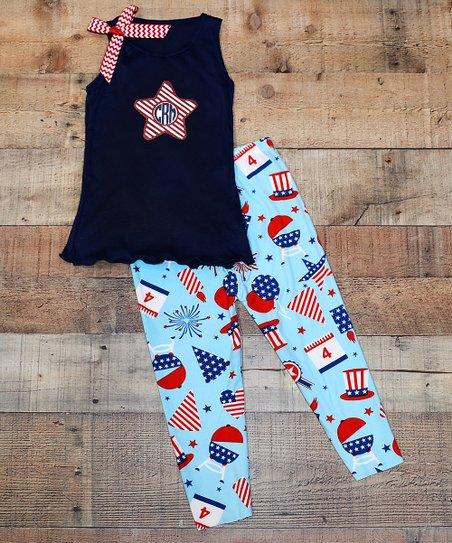 5c571c262 love this product Navy Star Monogram Tank & Light Blue Patriotic Leggings  Set - Toddler & Girls