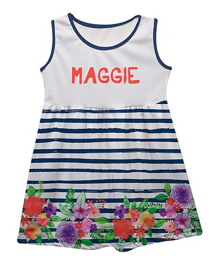 12678a5ab46 love this product White   Navy Stripes Floral Personalized Tank Dress -  Infant