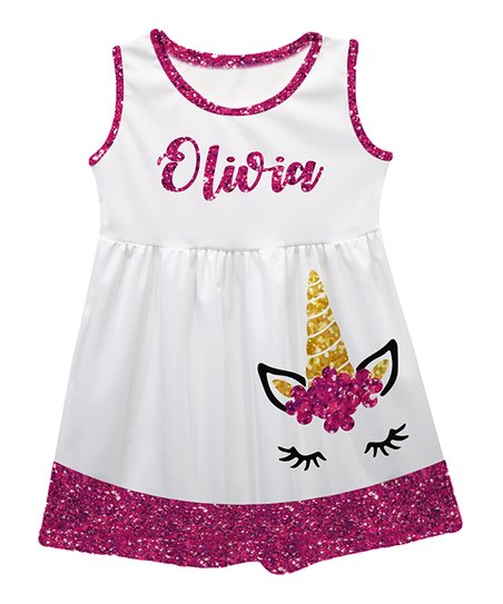 efd0ddc77141 love this product White Unicorn Personalized Sleeveless Dress - Infant,  Toddler & Girls