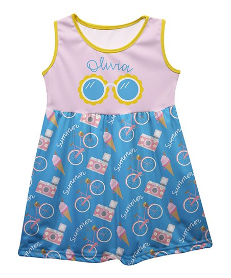 3ed6d7672e9a love this product Pink & Light Blue 'Summer' Personalized Sleeveless Dress  - Infant, Toddler & Girls