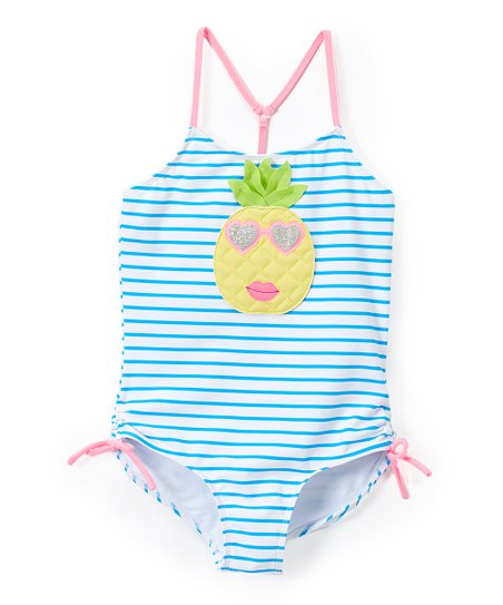 8dce2cf19d love this product Blue & Pink Stripe Pineapple One-Piece - Toddler & Girls