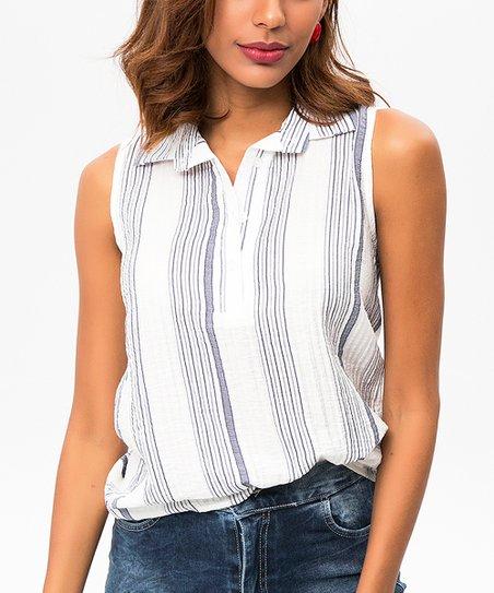 19206397a8068c New Laviva Ecru Stripe Button-Front Sleeveless Top - Women | Zulily