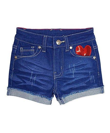 e332e10067 Cutie Patootie Stormy Blue Sequin Heart Denim Shorts - Girls | Zulily