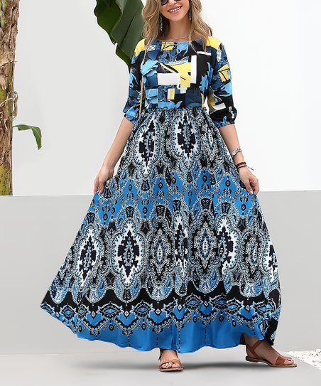 32b30375c4 Reborn Collection Blue & Black Abstract Maxi Dress - Women & Plus ...