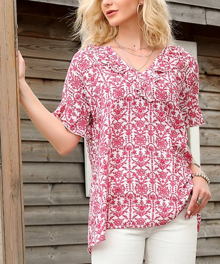40c11299c6b9a1 love this product Red & White Floral Flutter-Sleeve V-Neck Top - Plus