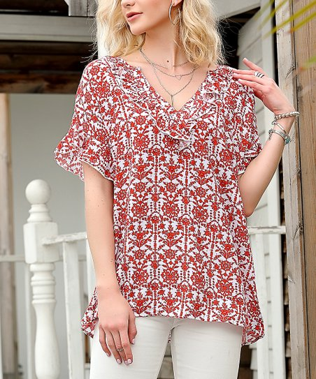 dab776f92c94d2 love this product Red & White Floral Flutter-Sleeve V-Neck Top - Women &  Plus