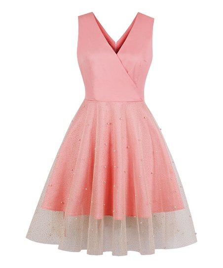 e6dbb16837c love this product Pink   Gold Polka Dot Bead-Accent Tulle-Overlay A-Line  Dress - Women
