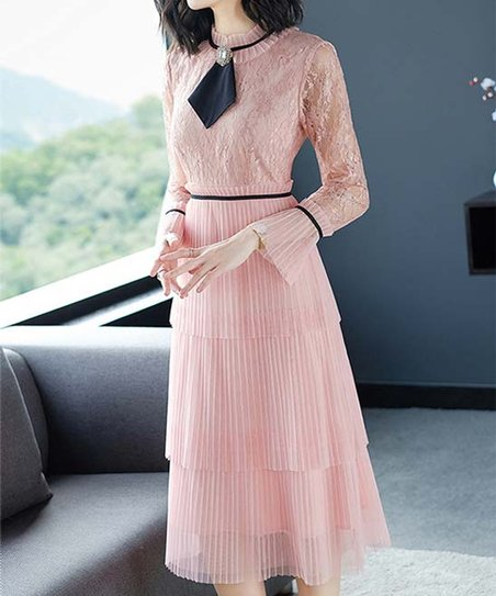 26fad7c3e Vicky and Lucas Pink Lace Pleated Tiered-Skirt Midi Dress - Women ...