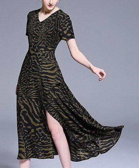 e489f40e7d981 Charlie Charlie Charlotte Black & Green Tiger Slit Maxi Dress ...