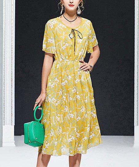 bce3768f961 Charlie Charlie Charlotte Yellow Floral Tie-Neck Midi Dress - Women ...