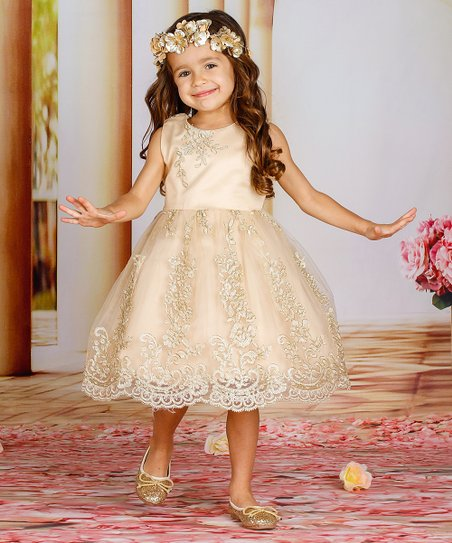 db2643a3f3 love this product Blush Gold Floral-Embroidered A-Line Dress - Toddler    Girls