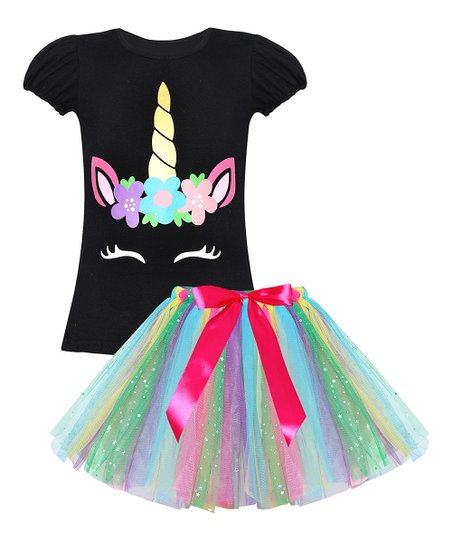 42633a74d5f8d love this product Black Unicorn Puff-Sleeve Top & Rainbow Sequin Tutu -  Toddler & Girls