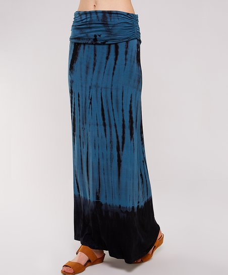 8f3972cd5c love this product Teal & Black Tie-Dye Maxi Skirt - Women